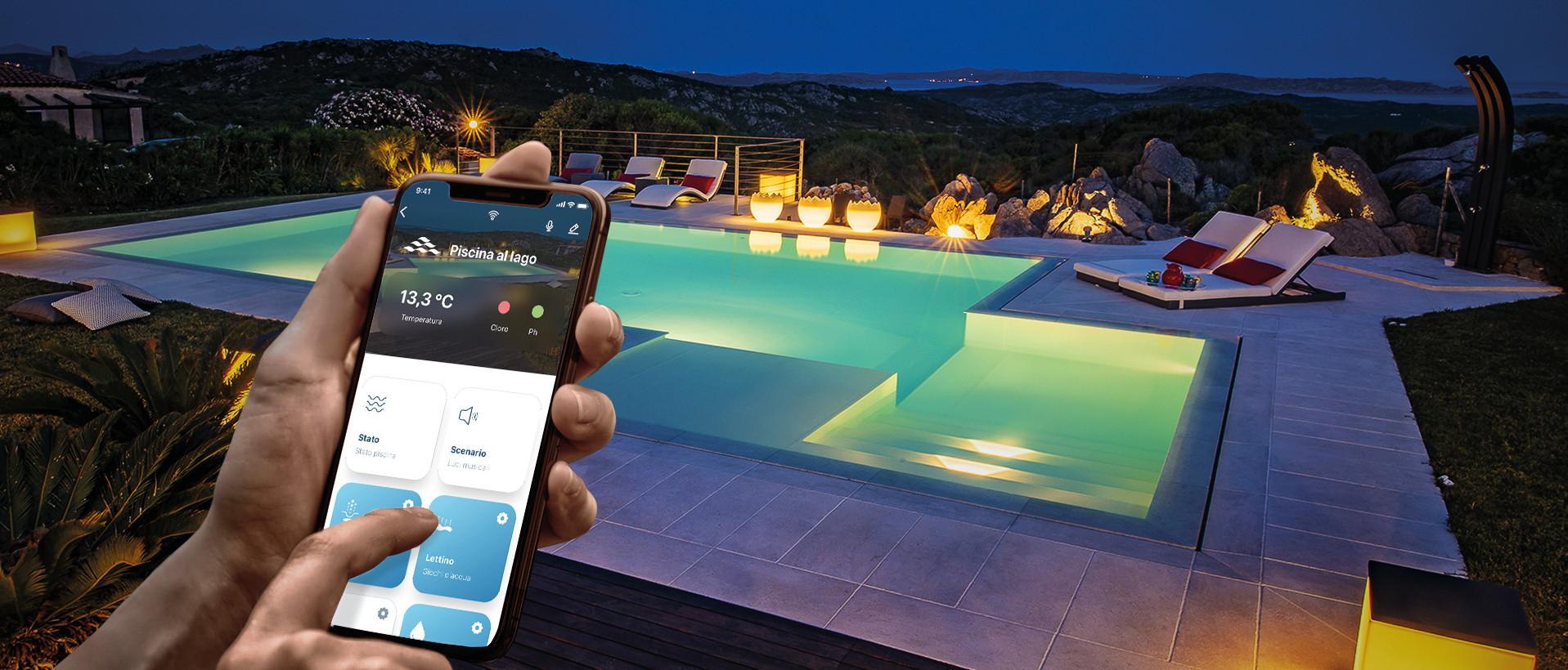 piscina che funziona con app da smartphone