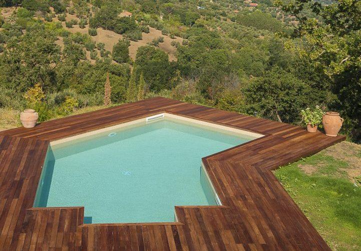 piscina su terrazzamento a forma libera geometrica