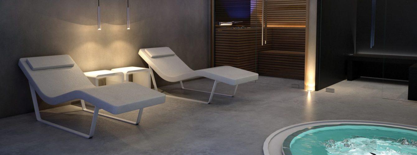 Centro Benessere, sauna e bagno turco con minipiscina e lettini relax