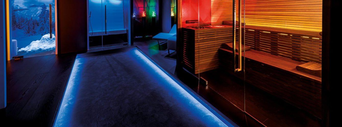 sauna, bagno turco, stanza con neve, lettini relax