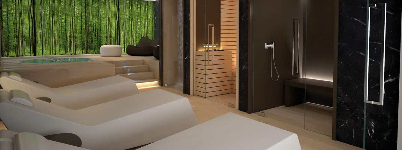 centro benessere con sauna e bagno turco, lettini relax e piscina piccola