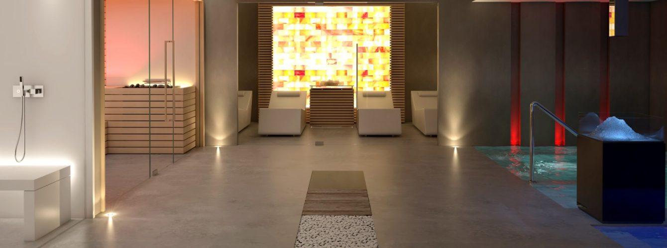 centro benessere per hotel con bagno di vapore, sauna, stanza relax salina, piscina caldo e freddo
